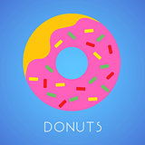 Donut isolated on blue with sign