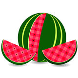 Flat vector icon watermelon and slice of watermelon