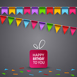 Birthday card with colorful flags and gift