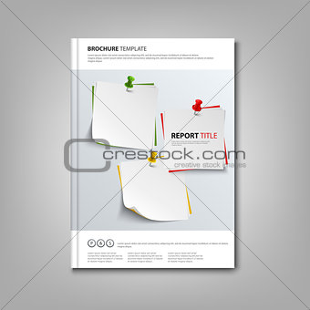 Brochures book or flyer with note papers and pins template