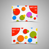 Gift card with abstract colored circles
