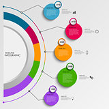 Time line info graphic with design colorful circles template