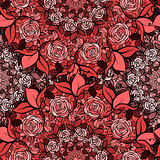 Seamless pattern with roses in circles,cute red flowers