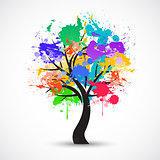 Vector Colorful abstract tree background