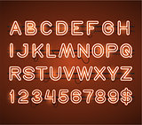Vector Glowing Orange Neon Bar Alphabet
