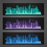 Industrial city skyline sets