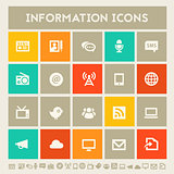 Information icon set. Multicolored square flat buttons