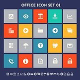 Office 1 icon set. Multicolored square flat buttons