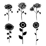 silhouettes of flowers vector 4