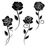 silhouettes of roses vector 2