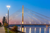 Cable-stayed bridge and Daugava, Riga, Latvia