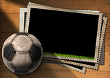 Football - Old Photo Frames with Soccer Ball