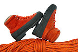Mountaineering Boots and Rope
