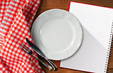 Notebook Plate and Cutlery
