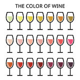The color of wine - different shade of white, rose and red wine icons set