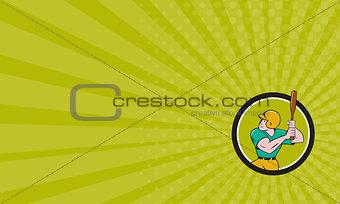 Business card Baseball Player Batting Circle Cartoon