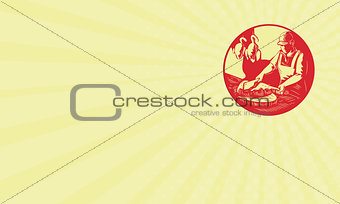 Business card Chinese Cook Chop Meat Oval Circle Woodcut