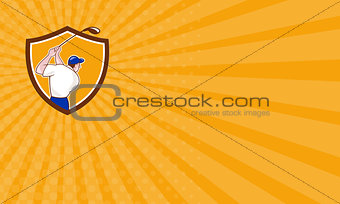 Business card Golfer Swinging Club Crest Cartoon