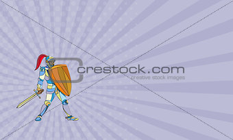Business card Knight Full Armor With Sword Defending Mosaic