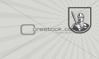Business card Crusader Knight With Sword Front Crest