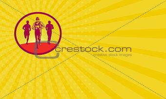 Business card Marathon Runner Circle Woodcut