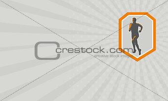 Business card Marathon Runner Running Front Shield Retro