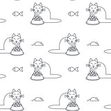 Happy eating cats seamless pattern.