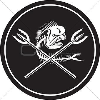Skull Mahi Mahi Dolphin Fish Crossed Spears Circle Retro
