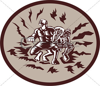 Tiitii Wrestling God of Earthquake Circle Woodcut