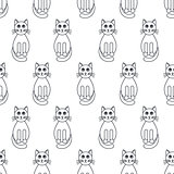 Many cats seamless pattern.
