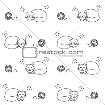 Sleeping cats seamless pattern.
