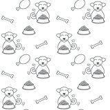 Happy eating dogs seamless pattern.