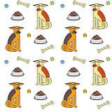 Happy adult dogs seamless pattern.
