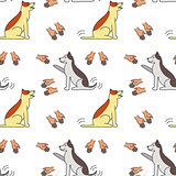 Good hands for dogs seamless pattern.