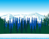 Winter landscape with wood and mountain