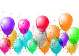 Abstract colorful confetti and balloons background. Isolated on the white. Vector