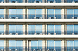 Windows and balconies of the hotel.