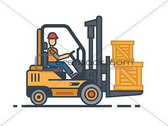 Forklift transporting boxes