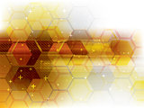 Technology background yellow futuristic abstract.