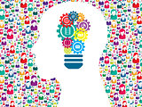 Head gears lamp creative icon