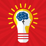 Brainstorm idea creative brain and lightning.