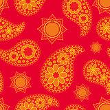 Seamless Paisley pattern, boho style