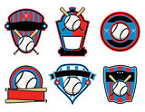 Baseball and Bat Emblems and Badges
