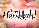 Happy Hanukkah Concept Watercolor Theme