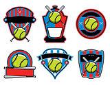 Softball and Bat Emblems and Badges