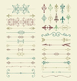 Vector Colorful Hand Drawn Dividers, Arrows, Swirls