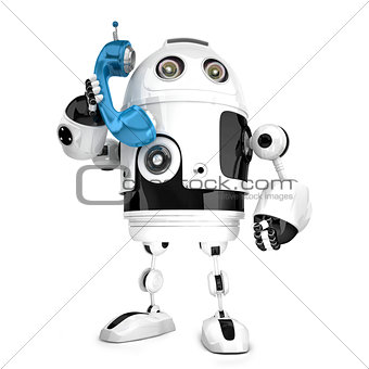 3D Robot with phone tube. Isolated. Contains clipping path