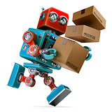 Robot in a rush delivering a package. Parcel Service. Isolated. Contains clipping path