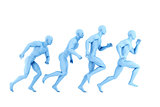 Running athletes. 3d illustration. Isolated. Contains clipping path
