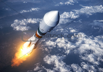 Cargo Carrier Rocket Launch In The Clouds